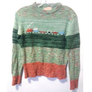 Vintage 80's space dye picture print sweater top